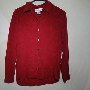 Evan-Picone red LS blouse. Size 6. #339